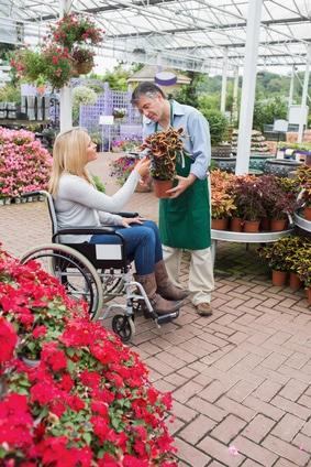 Woman in wheelchair buying a flower in garden centre