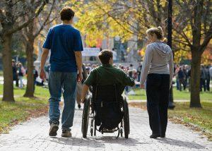using wheelchair