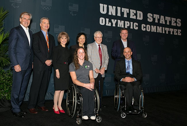 On September 26, 2014, the United States Olympic Committee and the University of Illinois at Urbana-Champaign announced an agreement designating the university as a U.S. Paralympic Training Site. Back row: USOC Board member and Paralympic Advisory Committee Chairman Jim Benson, BP Senior Vice President Corey Correnti, University of Illinois Dean Dr. Tanya Gallagher, University of Illinois Chancellor Dr. Phyllis Wise, DRES founder Dr. Tim Nugent, USOC CEO Scott Blackmun. Front row: 11-time Paralympic medalist Tatyana McFadden, University of Illinois and U.S. Paralympic wheelchair racing coach Adam Bleakney.