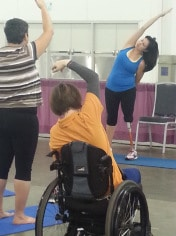 Yoga has many health benefits, and can be practiced from a wheelchair.