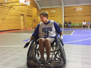 Kim plays sports often, including quad rugby!