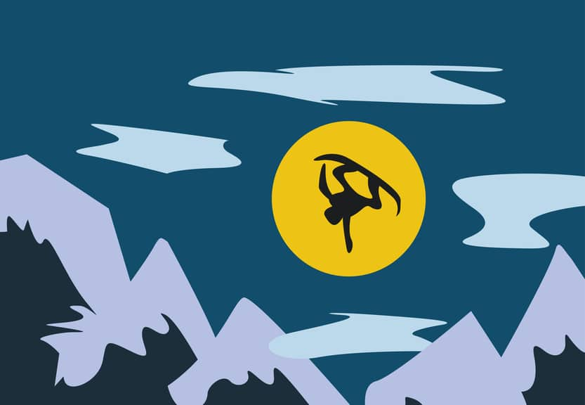illustration of flying snowboarder in the mountain