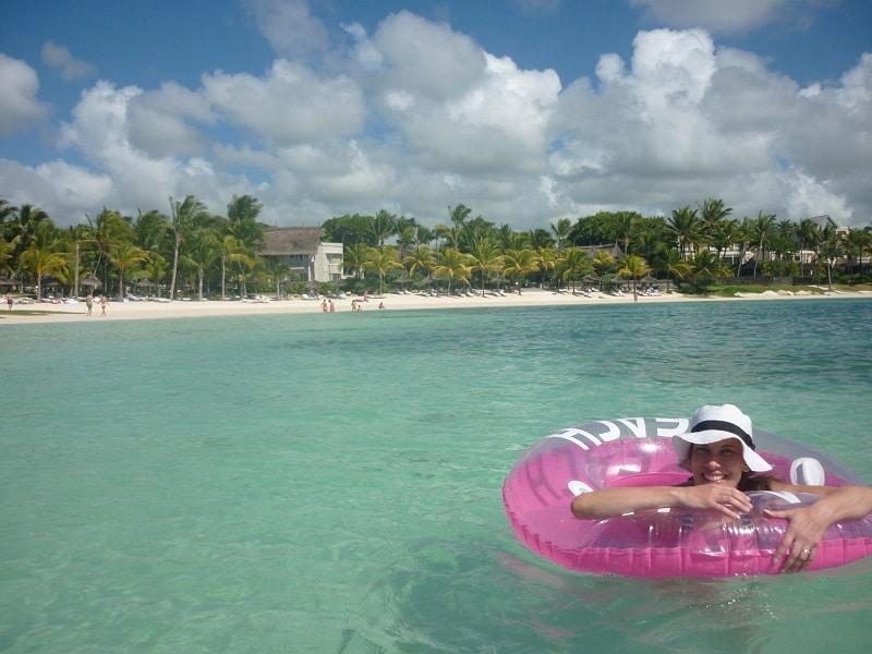 Enjoying the sea in Mauritius.