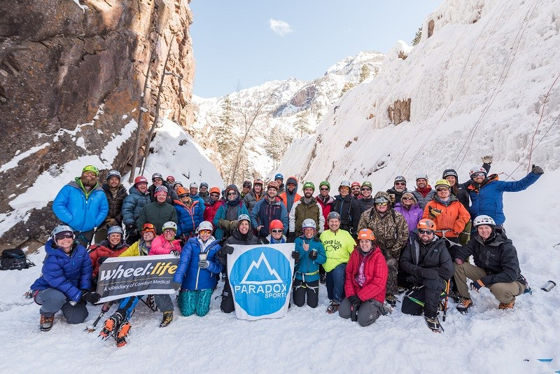 Paradox Sports Ouray ice climbing trip group photo