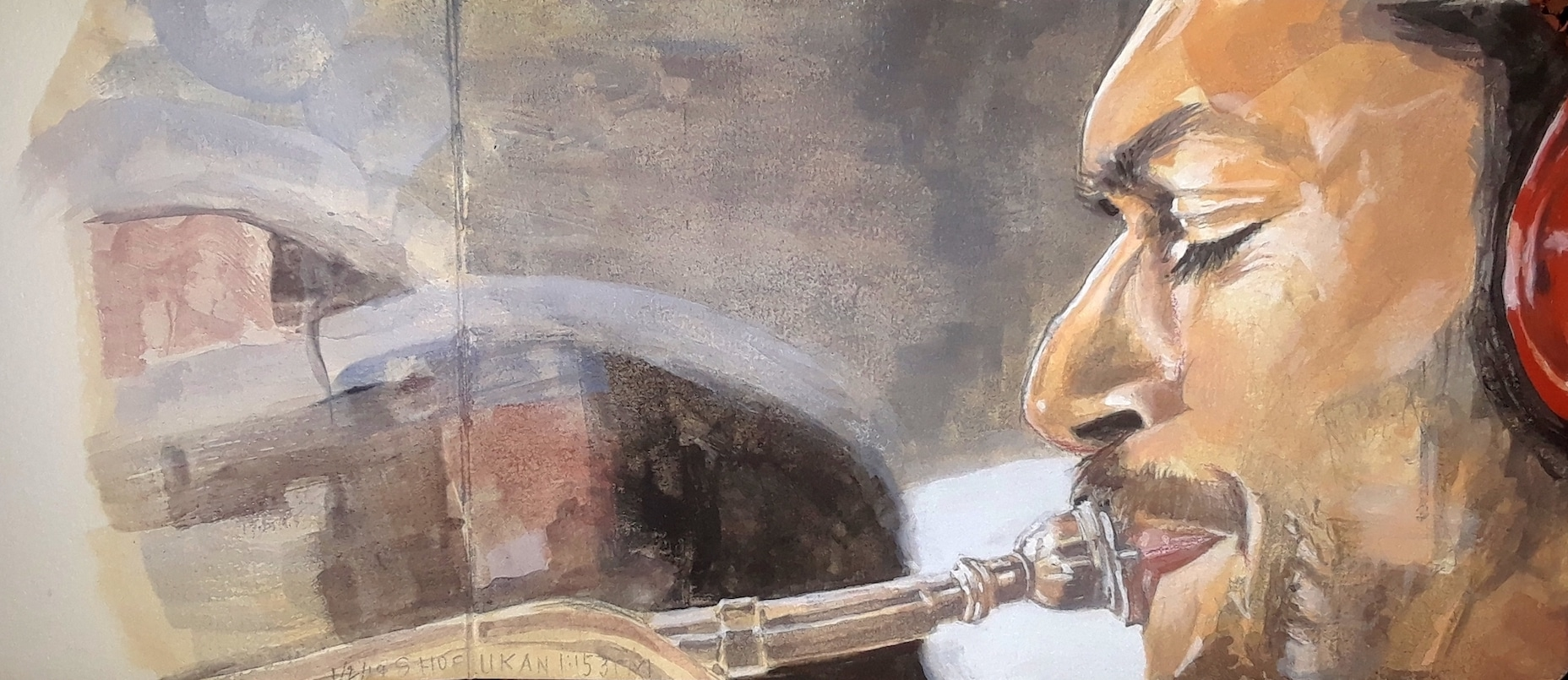 Painting with a closeup profile view of a man's head. He's playing a brass instrument.