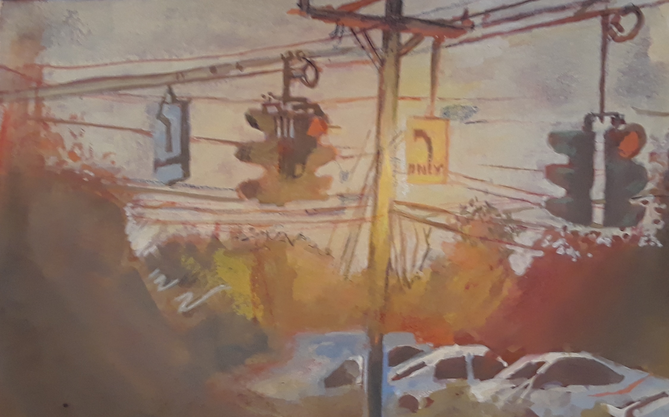 a surreal painting of two traffic lights, a turn sign, and electricity lines. There are white cars in the background among what seems to be fall foliage.