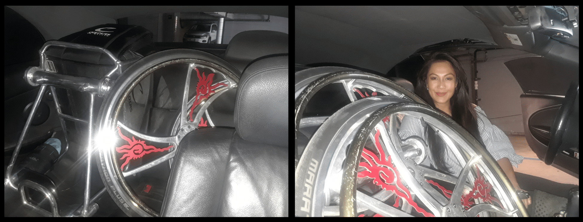 Before and after photos of old method of placing wheelchair in her car and new method of stacking wheels within the frame to create more room for passengers.