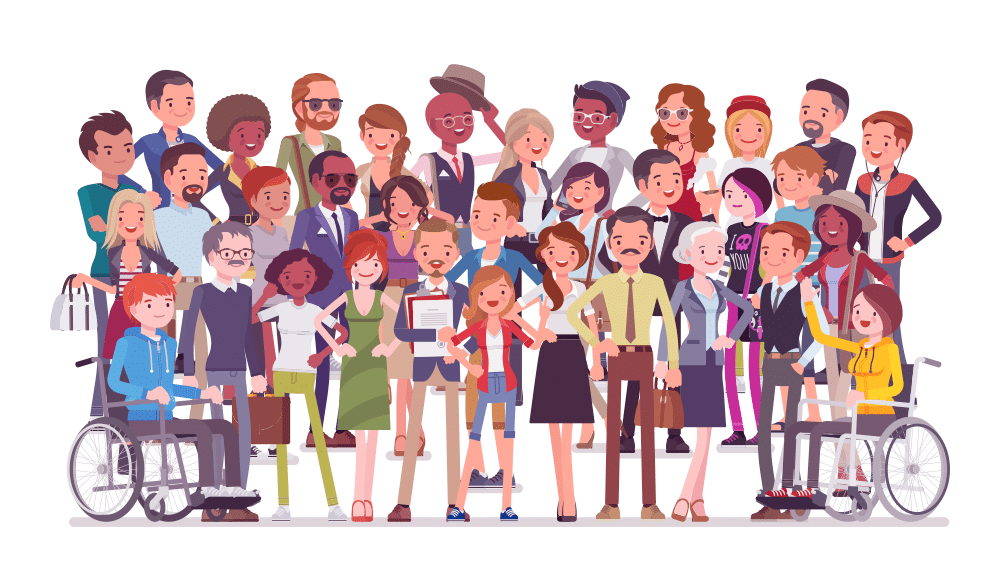 Drawing of group of people of different races and abilities.