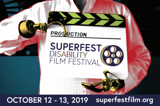 """Two hook hands holding a clapperboard that reads, """"Production, Superfest Disability Film Festival."""""""