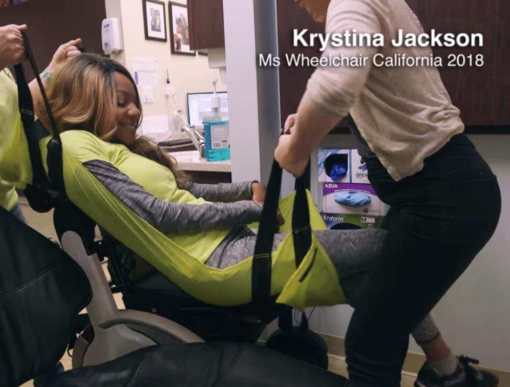 Ms. Wheelchair California 2018 Krystina Jackson using yellow ADAPTS sling at the dentist.