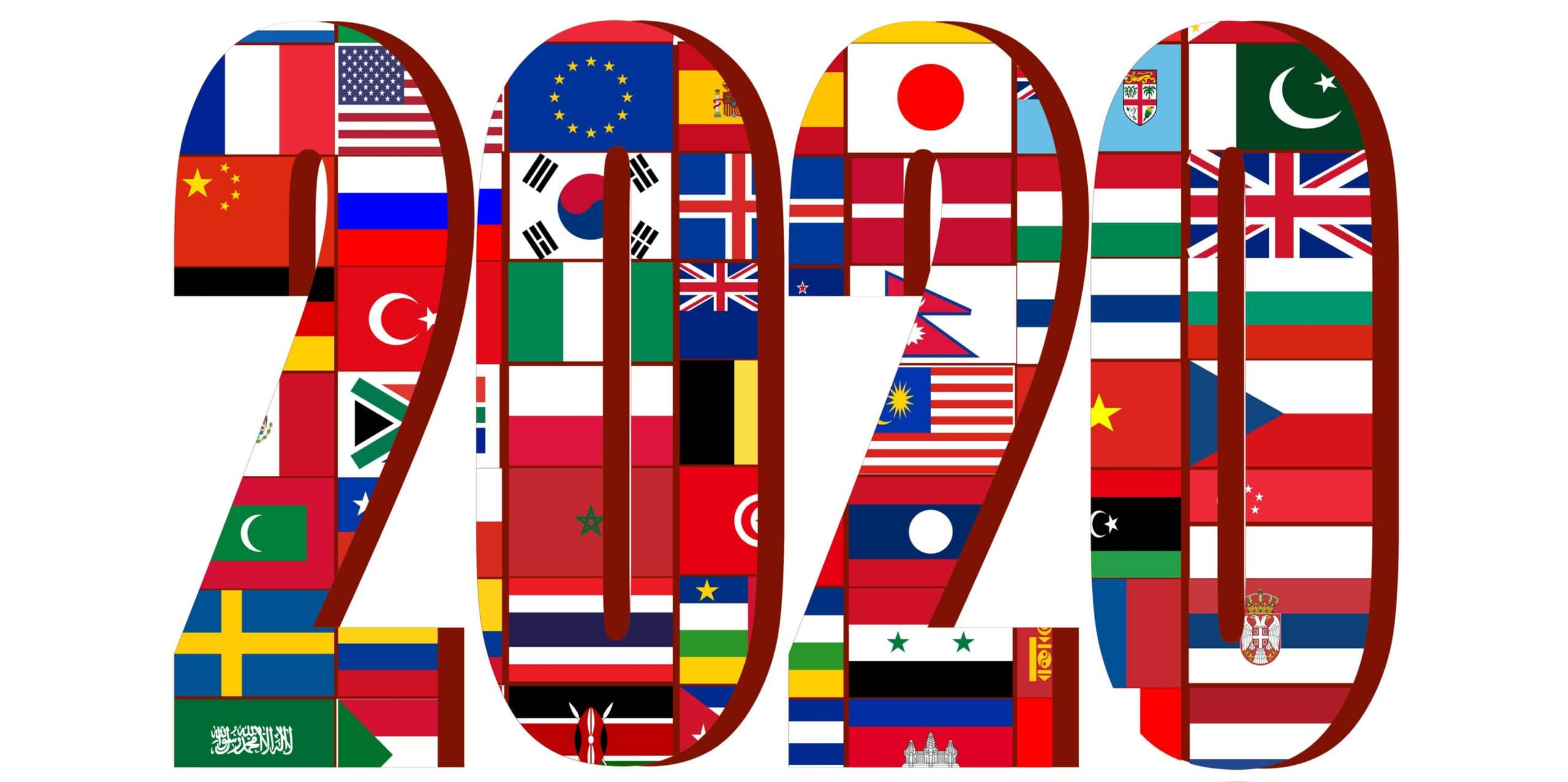 2020 made up of multiple world flags.