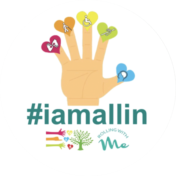 A drawn hand with hearts containing various symbols of disability on its fingers. #iamallin
