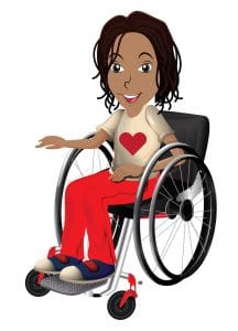 A girl character in a manual wheelchair