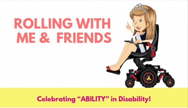 """Rolling With Me & Friends, Celebrating """"Ability"""" in Disability, an animated female character with a princess crown sits in a power wheelchair"""