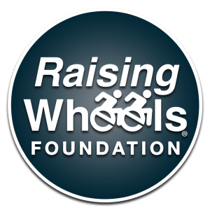 """The Raising Wheels Foundation logo. The two letter """"e""""s are icons of wheelchair users."""